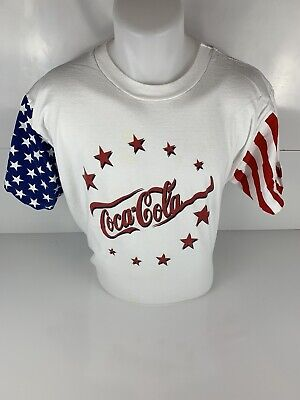 Vintage Coca Cola American Flag T Shirt Mens Large Single Stitch Stars USA
