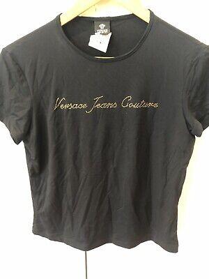 Womens Genuine Versace Jeans Couture Black Diamanté Tshirt Top XL uk 12-14