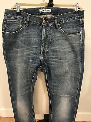 Acne Mens Moc Hurry Slim Denim Jeans Blue Size 32x32 Hardly Worn!