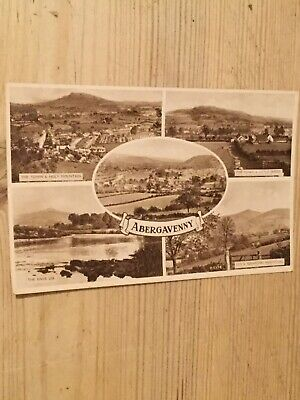 1950's real photographic postcard - Abergavenny multiview - Monmouthshire