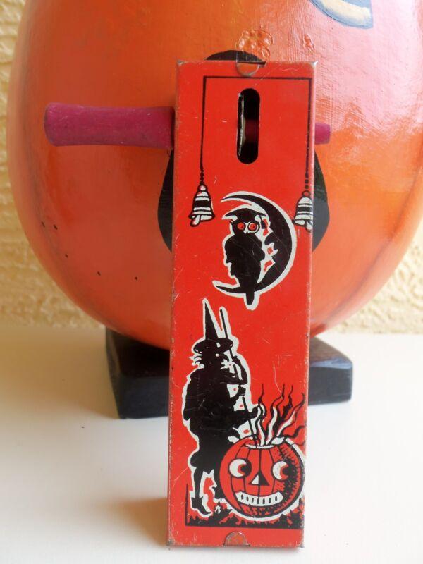VINTAGE KIRCHHOF TIN HALLOWEEN NOISE MAKER WITCH & PUMPKIN & OWL ON MOON
