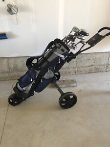 Golf Caddy and Clubs