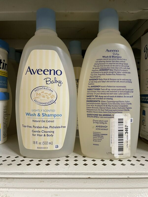 2 PACK Aveeno Baby Gentle Wash And Shampoo with Natural Oat Extract 18 oz