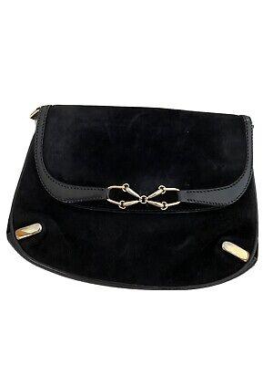 Gucci Handbag Purse Leather Suede Black Vintage Leather Rare Crossbody Clutch