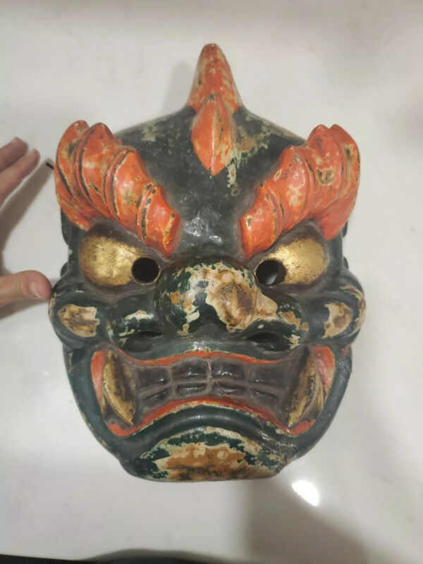 Rare Vintage Japanese Painted Noh Theater Mask w Inscription