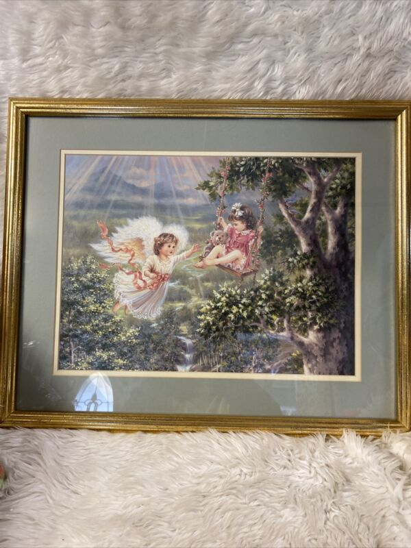 "Vintage Home Garden Party Print of Angel Girl w/girl On swing 21.5""x 17.5"""