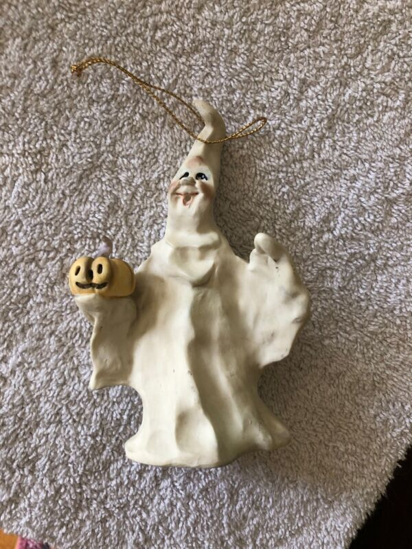 Allyson Nagle 1995 Halloween Ornament Ghost Pumpkin