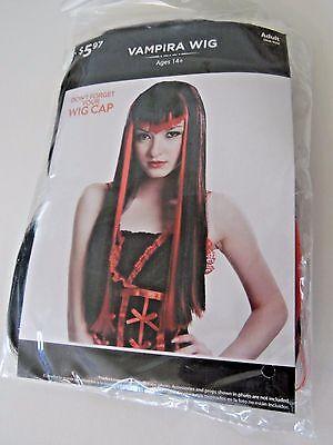 Black & Red Long Vampira Adult Wig Halloween Prop Trick or Treat Trendy Costume  ()