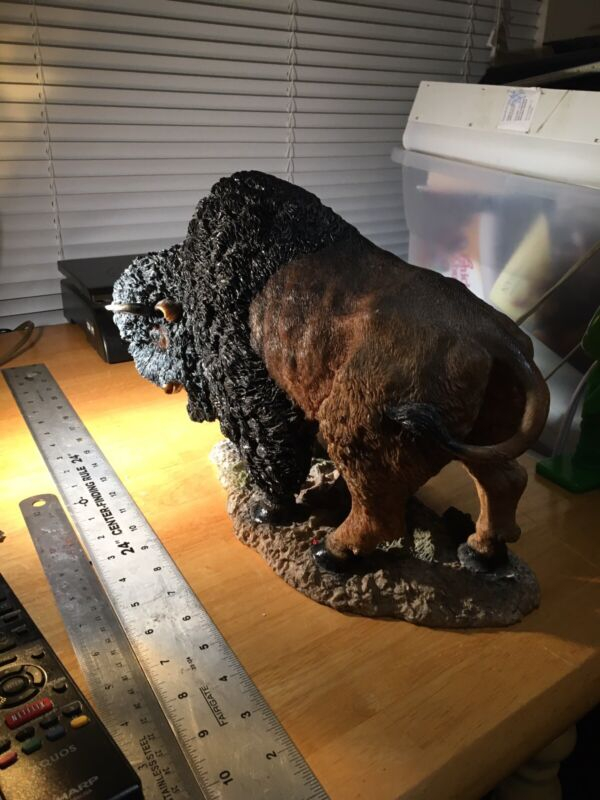 """Bison Sculpture decoration resin light weight but very detailed 14"""" long 9"""" tall"""
