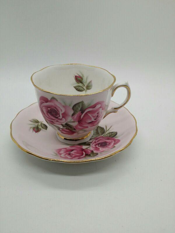 Vintage Colclough Pastel Pink Tea Cup and Saucer Elegant Pink Rose Gold trim