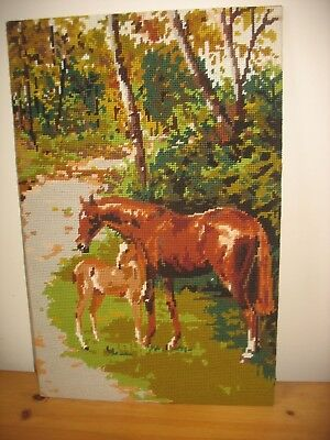 Mare & Foal 'Bridle Way by Penelope  Completed Wool Tapestry DMC 1999
