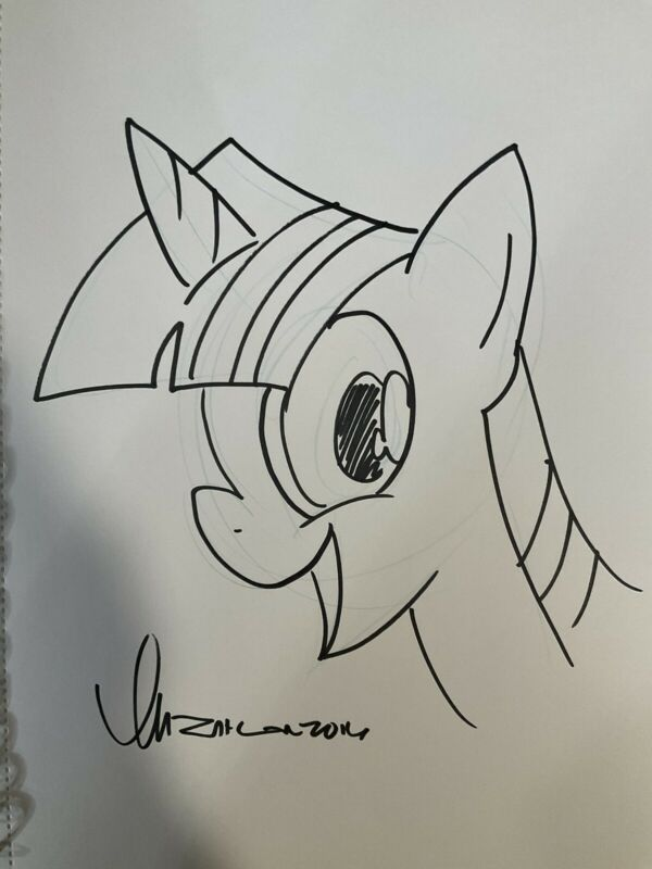 2016 Tom Zahler Hand Drawn Original Sketch My Little Pony Art MLP Twilight Spark