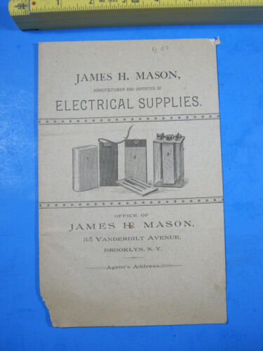 1889 MASON ELECTRICAL SUPPLIES BROOKLYN NY ELECTRIC LAMPS BATTERIES CATALOG