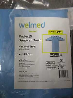 Welmed Protect5 Blue Non-reinforced Xl Surgical Gown Aami Level 3 W Hand Towel