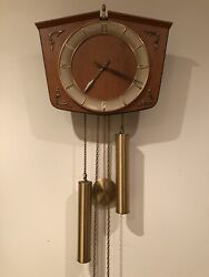 JUNGHANS VINTAGE PENDULUM WALL CLOCK WITH BRASS WEIGHTS