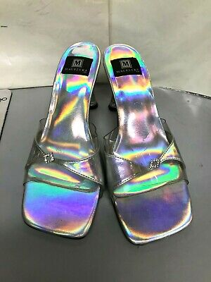 Womens Shoes Sz M  7.5-8 Silver/Clear Strap Clear Acrylic Heel Maurices Preowned (Acrylic Heels Womens Shoes)