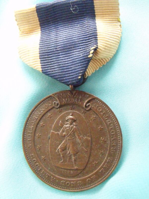 RARE EARLY ORIGINAL SONS OF THE REVOLUTION HALE SCHOLAR PRIZE MEDAL CONNECTICUT