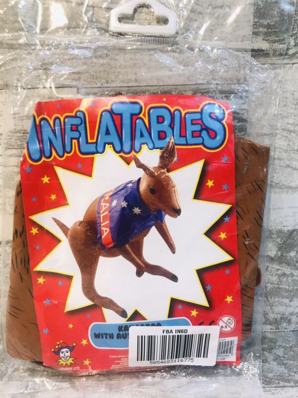 """Inflatable Kangaroo With Australian Flag 70 Cm / 28"""" Tall NEW Sealed Party Decor"""
