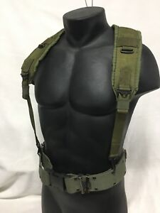 USGI Pistol Belt and Y Suspenders Set LBE Alice Gear Army USMC Military MEDIUM