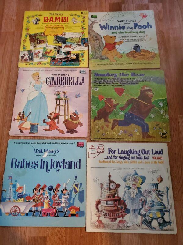 Vintage Disney Disneyland Childrens Music Records Plus Smokey The Bear And Mr...