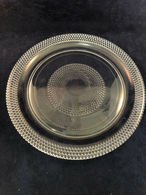 "2 Vintage Glass Dinner Plates Clear Beaded Bullseye 10"" Hobnail"