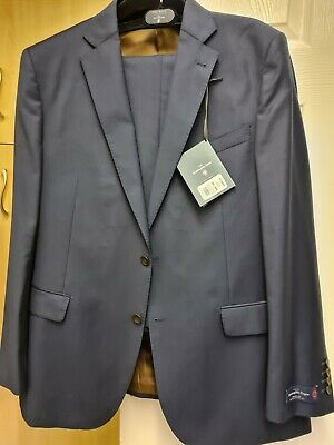 Ermenegildo zegna Moss Bross Mens Navy Blue Suit Trousers 40R Jacket 46R