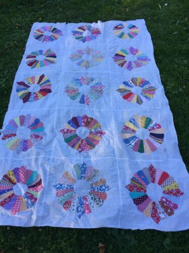 Vintage Dresden Plate Quilt Top Hand Stitched Feed Sack Cottons 52 x 86