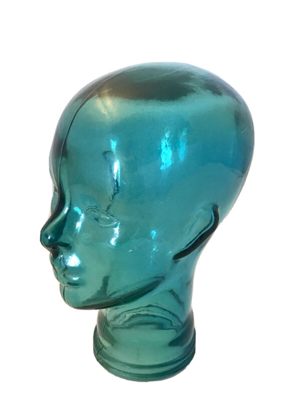 Blue Decorative Glass Head Table Top Decor Hat Stand Mannequin