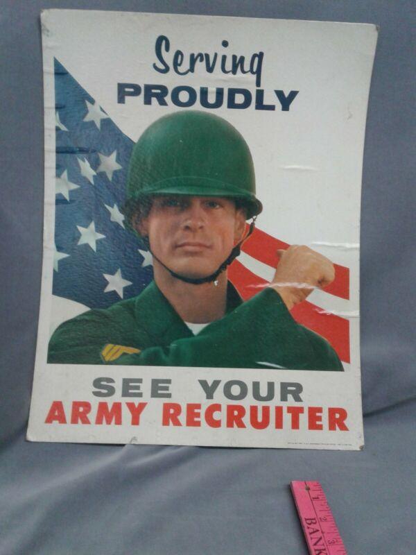 Vietnam Era Army Recruiting Poster Surfing Proudly 1967 Original Vintage
