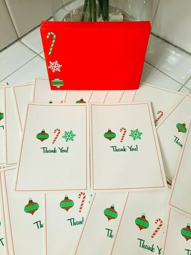 24 Christmas Holidays THANK YOU Cards With Envelopes Snow Flakes Ornaments Snow