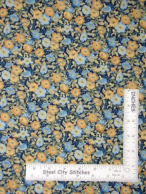 Peter Pan Fabrics Floral Blue Golden Yellow Flowers Cotton Fabric 21