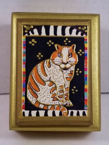 Vintage Que Bestia! Designs Handmade Gold-Embellished Cat Trinket Box, Mint Cond