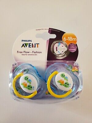 Philips Avent FreeFlow Fashion Baby, Infant Pacifier Binky 2 Pack Blue 6-18M
