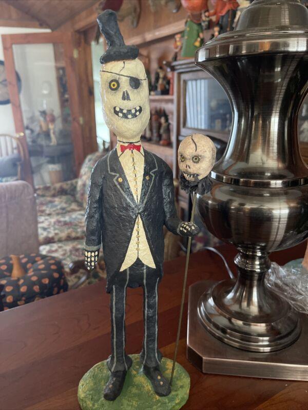 """15.75 """" Halloween Skeleton Eye Patch & Skull On Staff Monnie Wilson Papier Mache"""