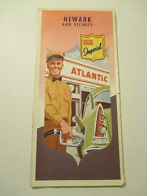 Vintage ATLANTIC NEWARK NEW JERSEY Oil Gas Service Station CITY Road Map