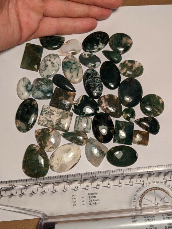 33pcs Translucent Moss Agate Polished Cabochons Cabs Gemstones