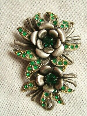 ANTIQUE FUR CLIP WITH GREEN RHINESTONES