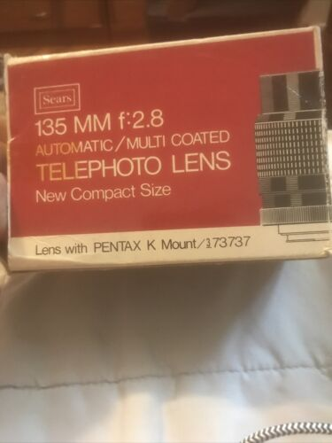 Sears 135mm F 2.8 PENTAX K PK Mount TELEPHOTO Lens MY73737/ BOX - $12.80
