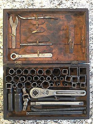 Frank Mossberg Co. Vintage Socket Wrench Tool set in original Wooden Box Antique