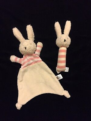 Jellycat Bredita Bunny Blanket Squeaker Pink Comforter Soother Stripe Plush Knot
