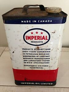 Antique 3 star Imperial gallon Esso motor oil tin can gas sign