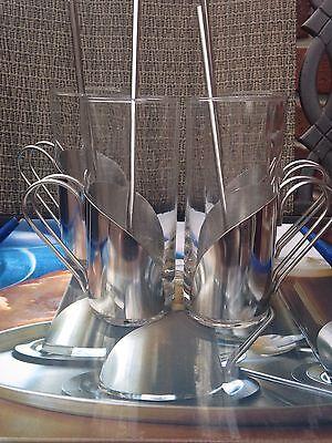 New Irish Coffee Goblet Set of 4 Modern Gift Kitchen Spoon Straws Stainless Steel