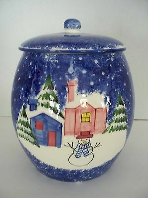 Blue Speckled Winter Snowman MARKETPLACE Cookie Jar Christmas Holiday 1999