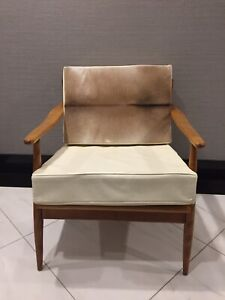 Mid century modern natural hide occasional/reading chair