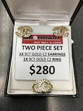 Chanel Style 2 Piece Set: 9ct Yellow Gold + CZ Ring + Earrings Dandenong Greater Dandenong Preview