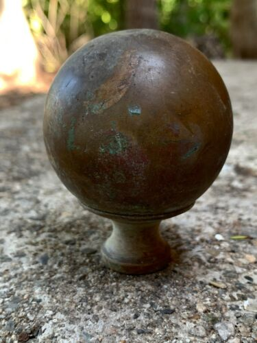 Antique Large Ball BRASS Round FINIAL TOPPER Flag Pole