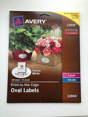 Avery Oval Labels Print To The Edge 22804 1.5 X 2.5 Glossy White180 Ct