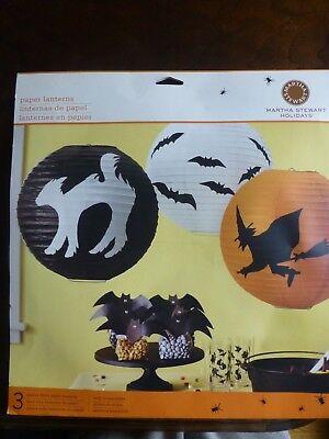 THREE, NEW Martha Stewart Halloween Paper Lanterns, party decor, bat, cat, witch - Martha Stewart Halloween Party
