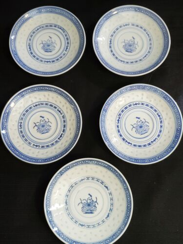 "Vintage Chinese Rice Eyes 5.5"" SAUCERS Set Of 5 Lotus Flower Blue & White"