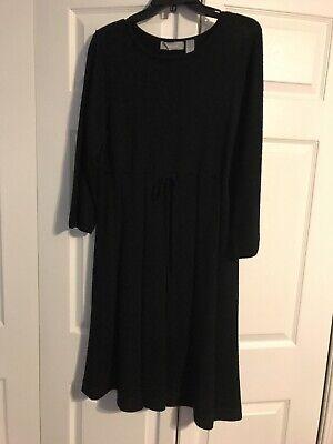 Liz Claiborne black knit A Line Midi Sweater Dress Long Sleeve Size Large L